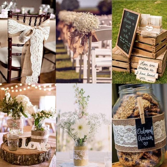 Svatební výzdoba juta a dřevo