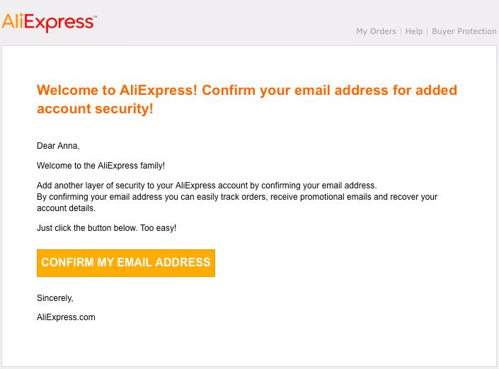 Potvrzení emailové adresy při registraci na AliExpressu