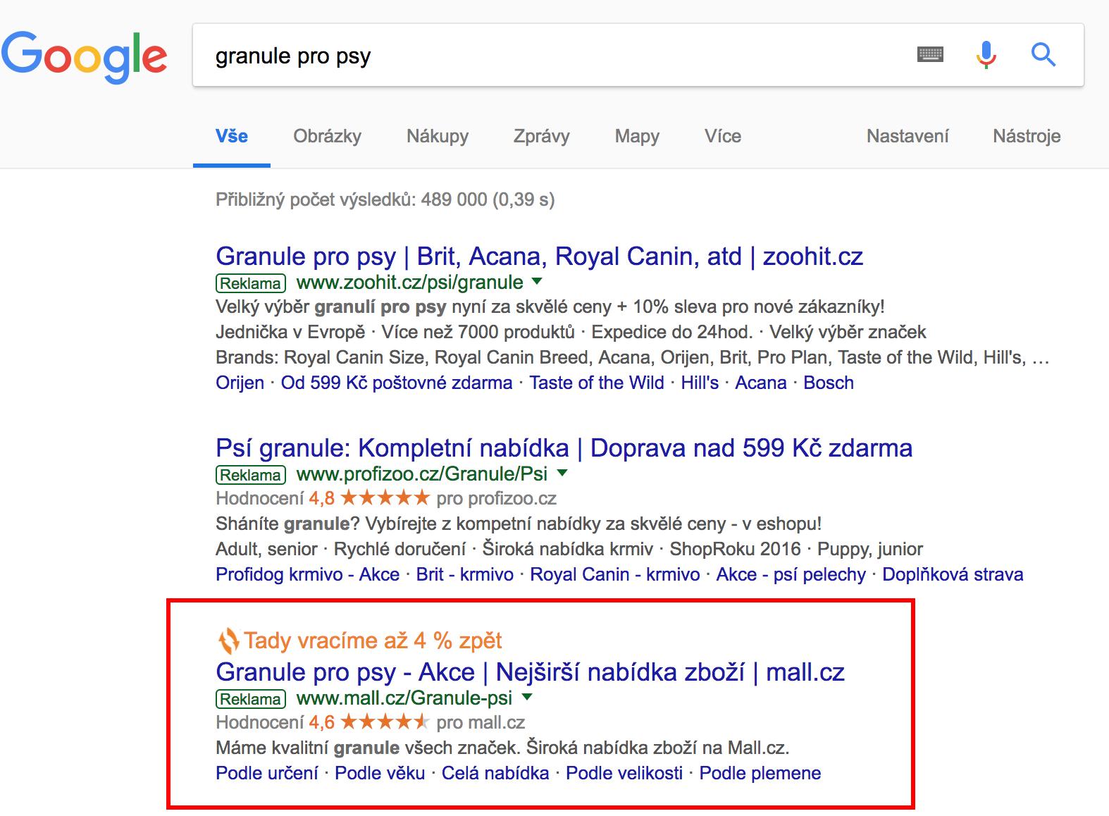 Vyhledávání Google s výsledky s Připomínáčkem