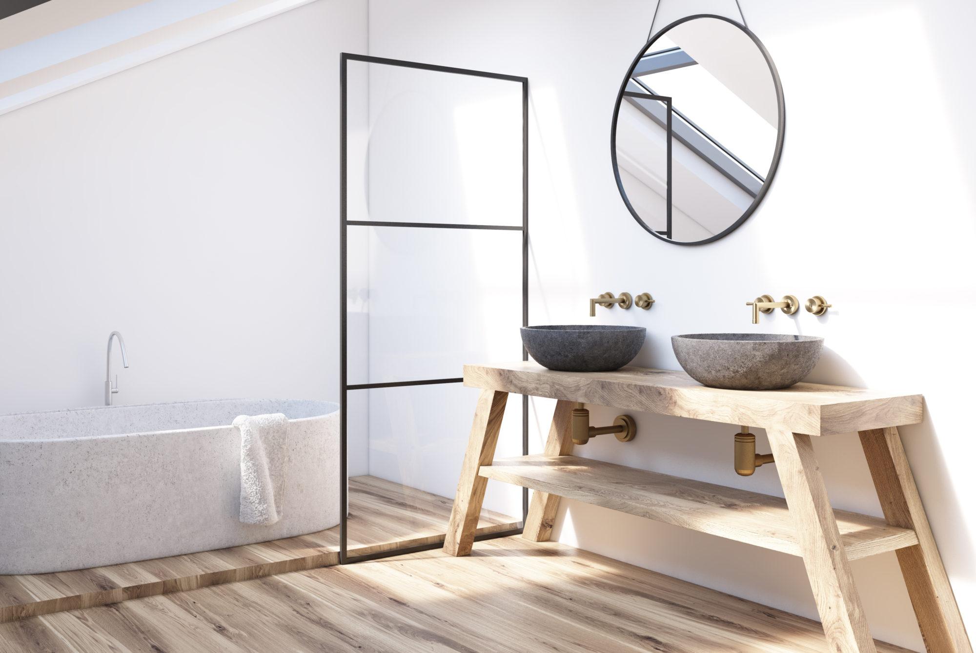 Dřevěný koupelnový stůl na umyvadla